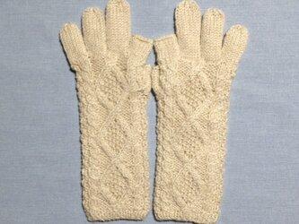 【受注後製作】手袋アルパカ×ラムウールベージュ系の画像