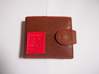 二つ折り財布□wallet□タグ□レザー□小銭入れが外せるシリーズ□ブラウン□残り福の画像