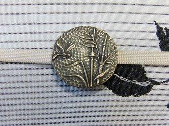 真鍮ブラス製 笹とトンボ柄帯留め 着物や浴衣の帯締め飾り・ブレスレット飾りにの画像