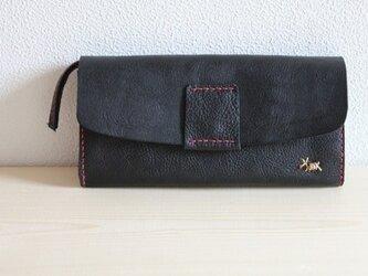 栃木レザー 手縫いのたっぷり本革財布 (黒)の画像