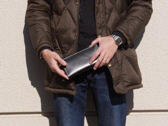 サマーセール! ロングレザーウォレット ブラック 本革 長財布ツヤあり 黒  の画像