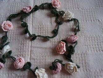 レース編み☆バラのラリエットの画像