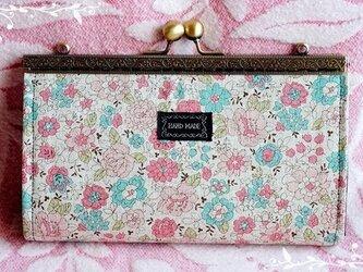 【受注製作】YUWAレトロ花柄 通帳も入る浮足がま口長財布の画像