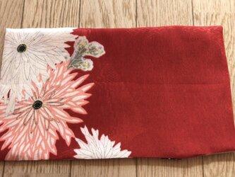 ブックカバー文庫本用 赤地に乱菊の画像