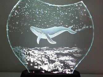 星降る夜・クジラ ガラスエッチングパネル Mサイズ・LEDスタンドセット(ランプ・ライト・照明)の画像
