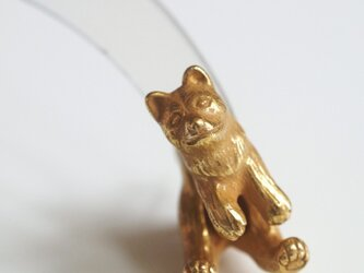 立ち耳犬ピアス/アンティークゴールド 片耳の画像