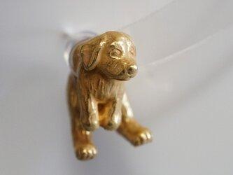 垂れ耳犬ピアス/アンティークゴールド 片耳の画像