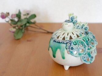 トリ花器(青緑)02の画像