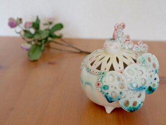 トリ花器(桃)02の画像