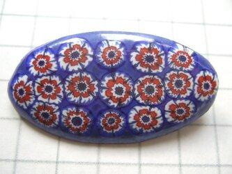 七宝 ブローチ ミルフィオリ 花模様 青の画像