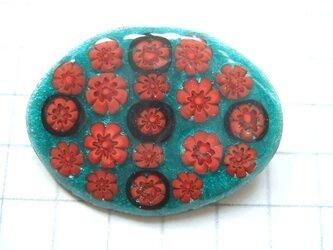 銀七宝 ブローチ ミルフィオリ 花模様 緑の画像