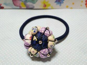 パープル*花のヘアゴムの画像