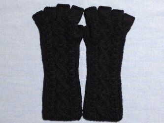 【受注後製作】手袋アルパカ×ラムウール黒(M)の画像