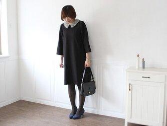 【Lサイズ】衿リバティ ワンピース ブラック affetto ハンドメイドの画像