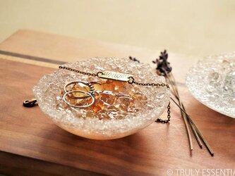 ガラスのアクセサリートレイ -「 灯りのタネ 」 ● アプリコット・9cmの画像
