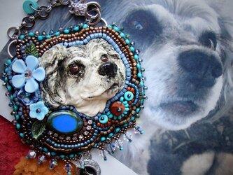 うちの子 ビーズ刺繍チャーム(オーダー参考作品 ミニチュアシュナウザー)の画像