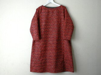 絹紬 赤色花菱 テトラワンピ長袖 Mサイズの画像