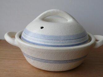 手つき直火土鍋 青線白の画像
