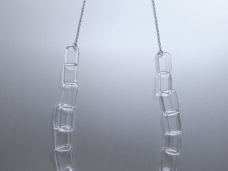 Square chain long Necklace Silverの画像