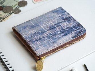 L字ファスナー 財布(スターリー ナイト) 革  メンズ レディース ILL-1157の画像