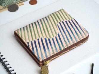 L字ファスナー 財布(オーロラ ストライプ)オールレザー 革  メンズ レディース ILL-1157の画像
