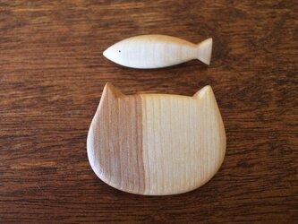 木製 ブローチ 【さかな+ねこ】セットの画像