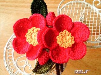 紅椿のコサージュの画像