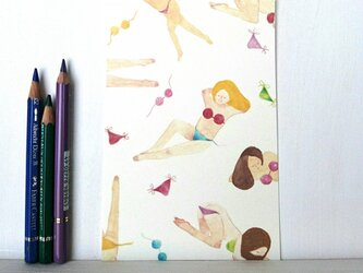 ビキニ女子 ポストカードの画像