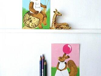 クマとリスの2枚組ポストカードの画像