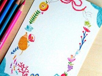 ポストカード 赤いリボンと幸せの鳥★ハトの画像