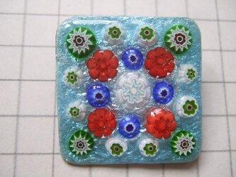 銀七宝 ブローチ ミルフィオリ 花模様 水 四角の画像