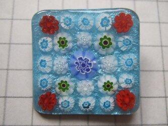 銀七宝 ブローチ ミルフィオリ 花模様 淡水 四角の画像