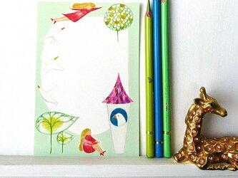 ポストカード 鳥と少女と家の画像