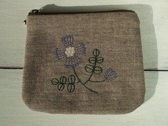 花刺繍のミニポーチ 茶綿麻の画像