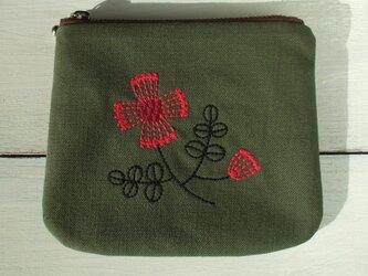 花刺繍のミニポーチ グリーンの画像