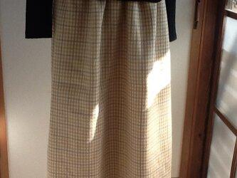 チェックロングギャザースカートの画像