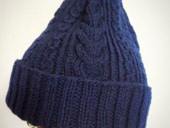 再販☆洗濯機で洗えるアラン模様のニット帽【ネイビー】の画像