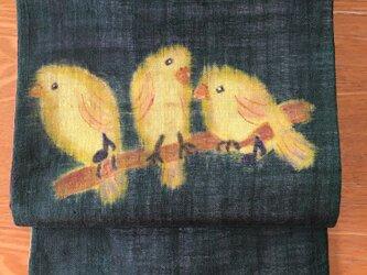 小鳥さんのお喋り・名古屋帯の画像