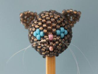 にゃんこヘッドの耳かき~グレー猫の画像