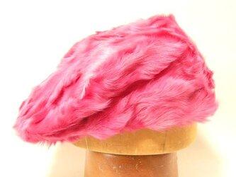 強烈なショッキングピンクの本毛皮のハンチング。パンチの効いたカラーとデザインは一点ものです。【PL618-Pink】の画像