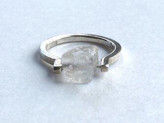 水晶ラフカット  silver ring   13.5号~14.5号の画像
