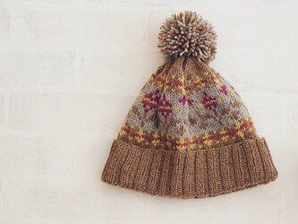 【完成品】花模様のニット帽の画像