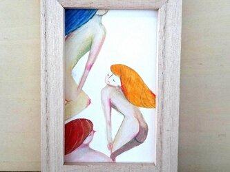 ミニ原画 3人の女 裸婦の画像