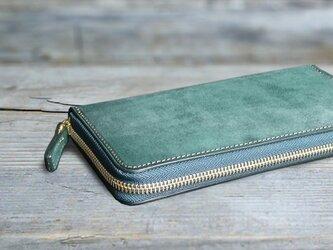 男の本革長財布ラウンドzip --- 希少国産牛革ロロマ [グリーン]の画像