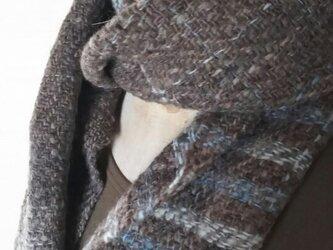 【ホームスパン】草木染 ふっくらあったか手織り藍染マフラー 306の画像