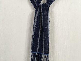 手紡ぎ綿本藍染めマフラ-の画像