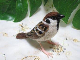 羊毛フェルト  かわいい雀の画像