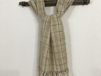 草木染め手紡ぎ綿とシルクのマフラ-の画像