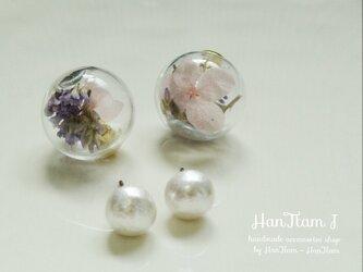 ふんわり 紫陽花×オハイオブルーのガラスドームピアスの画像