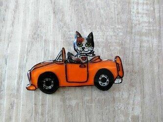猫のピカピカブローチ【車】の画像